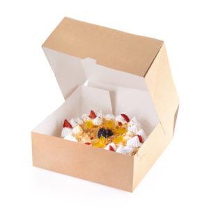 Kartonska kutija za tortu, desert ECO CAKE 6000 ml 255х255х105 mm kraft (15 kom/pak)
