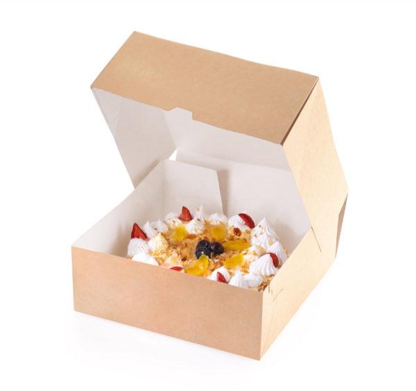 Posuda za torte, desert ECO CAKE 255х255х105 mm, 6000 ml, kraft (15 kom/pak)