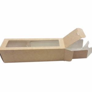 "Posuda papirnata  ECO MB 6 sa prozorom za deserte ""Makaron"" 180x55x55 mm, Kraft (500 kom/pak)"