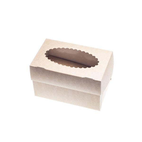 Posuda za muffine s prozorom 100x160x100mm, Kraft (500 kom/pak)