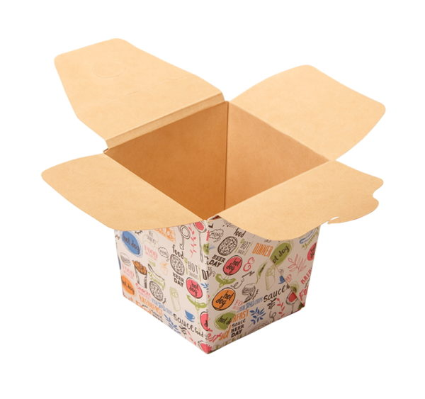 Posuda papirnata ECO NOODLES Enjoy 560 ml 95x95x100mm, pravougaono dno (420 kom/pak)