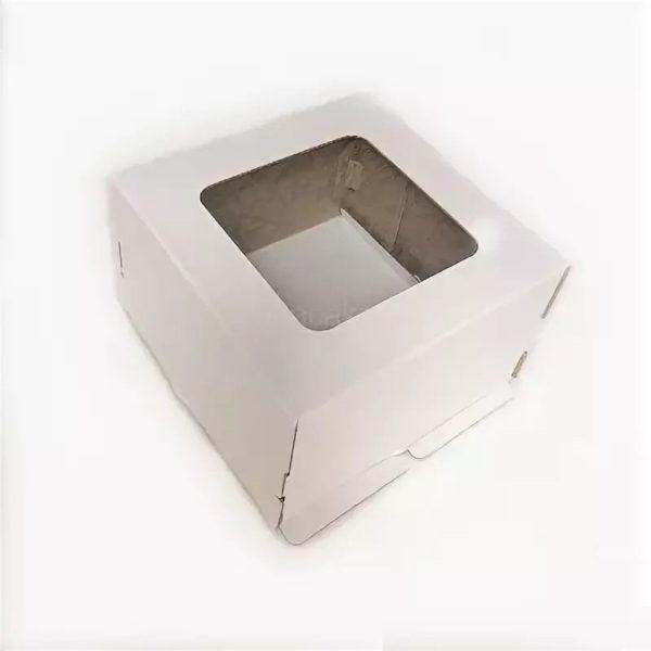 Kutija za tortu sa prozorom 300x300x300 mm, karton, bijela – dno (50 kom/pak)