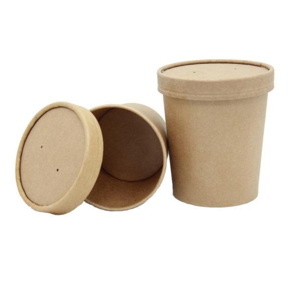 Kartonska posuda za supu sa poklopcem Tambien ECO 440 ml d=97 mm h=100 mm kraft 25 kom (komplet)