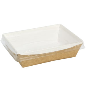 Posuda papirna Crystal Box 400ml sa providnim poklopcem 140x100x45mm, Kraft