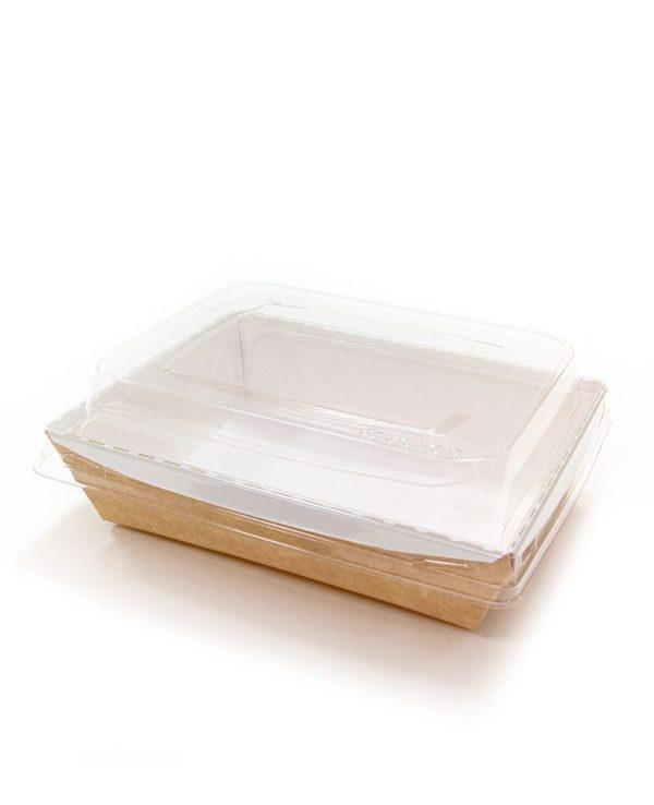 Kartonska kutija sa poklopcem kupola Crystal Box 800 ml 140x180x70 mm kraft (160 kom/pak)