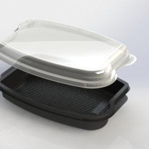 Posuda PP 1140 ml 262x182x55mm za poklopcem crna CD-402, 250 kom (komplet)