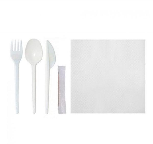 Komplet 5: viljuška, nož, kašika, čačkalice, salvieta (150 kom/pak)