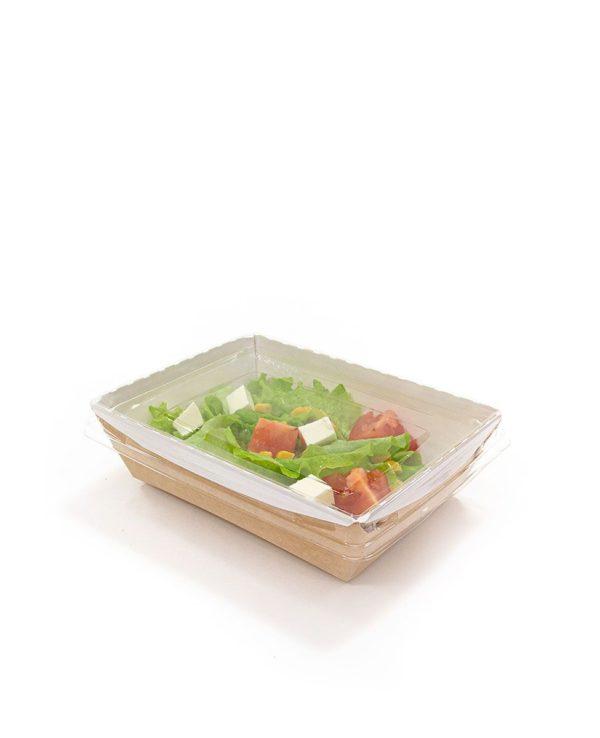 Posuda papirna Crystal Box 800 ml  poklopcem kupola 140x155x45 mm, Kraft (120 kom/pak)