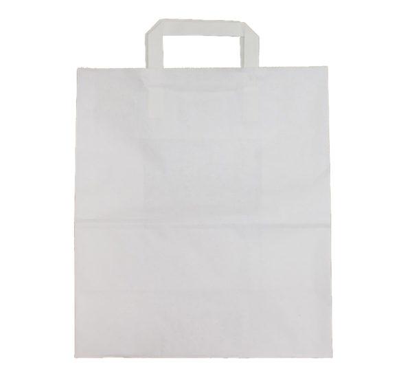 Papirna kesa sa plitkim ručkama 240x150x320 mm bijela (250 kom/pak)