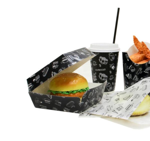 Kutija za hamburger Complement Black 120х120х70 mm (300 kom/pak)