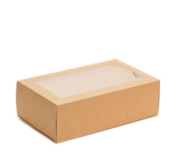 """Posuda papirnata  ECO MB 12 sa prozoromsa prozorčićem za deserte """"Makaron"""" 180x110x55 mm, Kraft (300 kom/pak)"""