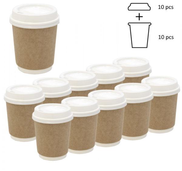 Komplet: papirna čaša 250 ml d=80 mm 2=slojni kraft sa poklopcem, 10 kom