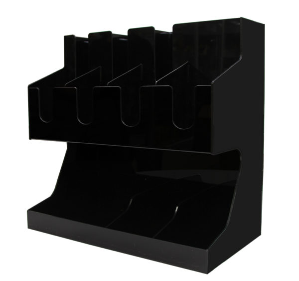 Barski organajzer sa 3 odeljka za čaše i 8 odeljaka za dodaci crni (AA18-B)