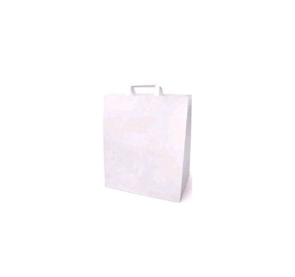 Papirna kesa sa plitkim ručkama 320x200x370 mm, bijela (200 kom/pak)