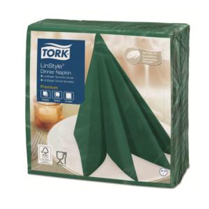 Salveta za večeru Tork Premium Linstyle® 39×39 cm, 50 l/pak, zeleni ariš