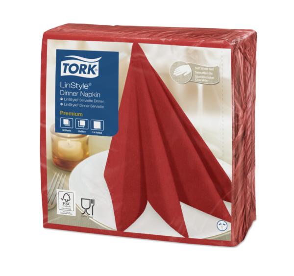 Salveta za večeru Tork Premium Linstyle® 39×39 cm, 50 l/pak, crvena