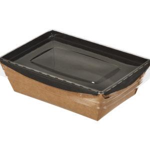 Kartonska kutija sa providnim poklopcem Crysatal Box 400 ml 145x95x45 mm, crna/kraft (450 kom/pak)
